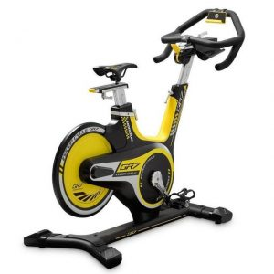 Image of a yellow and black ergonomically adjustable indoor spin bike